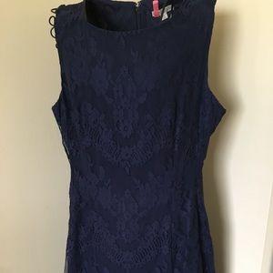 Eva Mendes Navy Blue Lace Dress Size 14